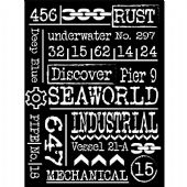 Stamperia Thick Stencil - Mechanical Sea World - Writings - KSAT11